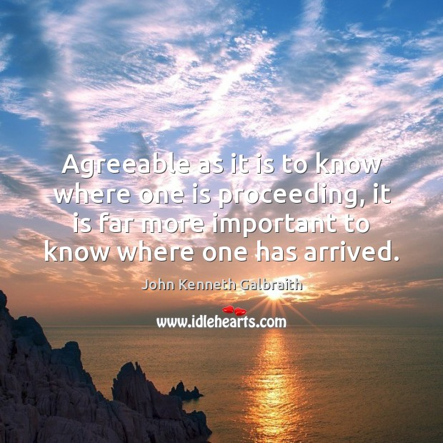Agreeable as it is to know where one is proceeding, it is John Kenneth Galbraith Picture Quote