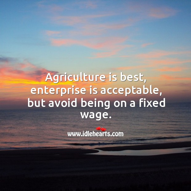 Agriculture is best, enterprise is acceptable, but avoid being on a fixed wage. Agriculture Quotes Image