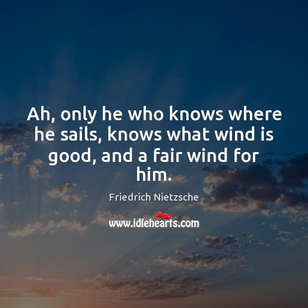 Image, Ah, only he who knows where he sails, knows what wind is good, and a fair wind for him.