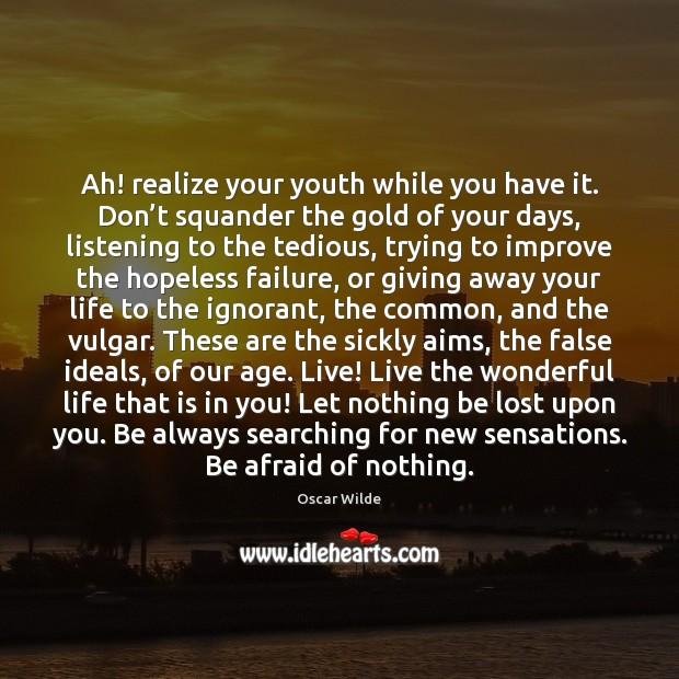 Image, Ah! realize your youth while you have it. Don't squander the