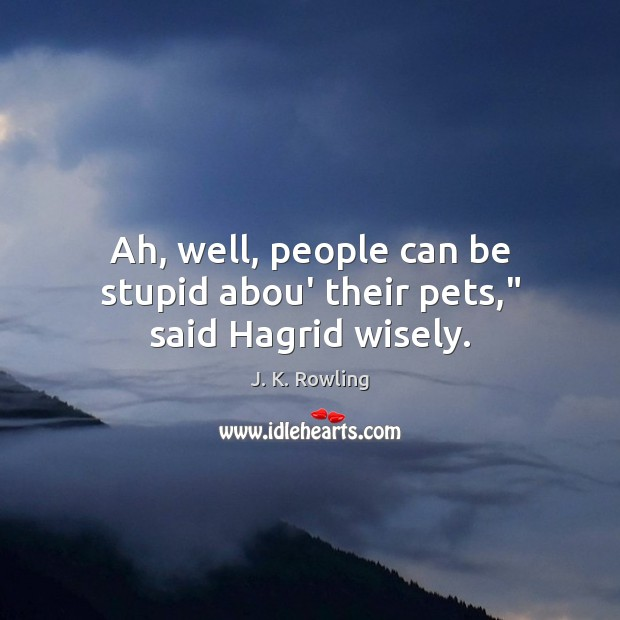 "Ah, well, people can be stupid abou' their pets,"" said Hagrid wisely. Image"