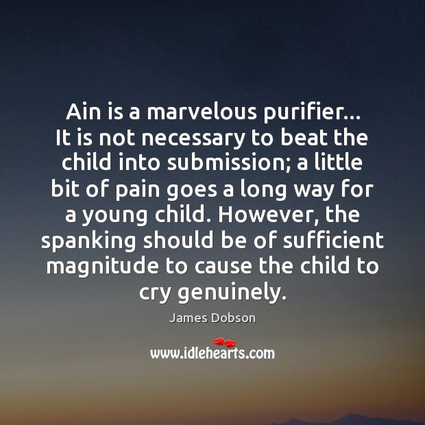 Ain is a marvelous purifier… It is not necessary to beat the James Dobson Picture Quote