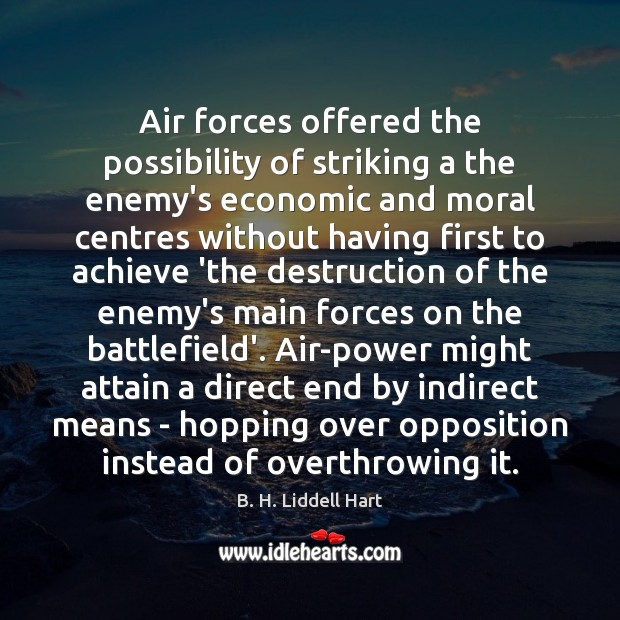 Air forces offered the possibility of striking a the enemy's economic and B. H. Liddell Hart Picture Quote