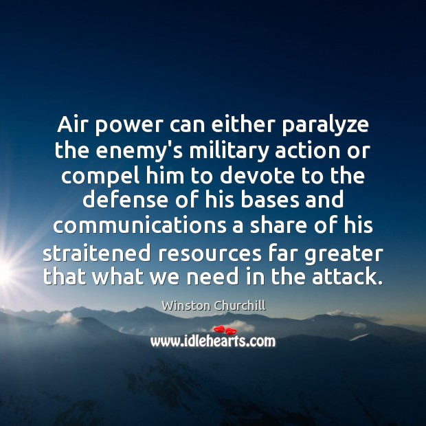 Image, Air power can either paralyze the enemy's military action or compel him