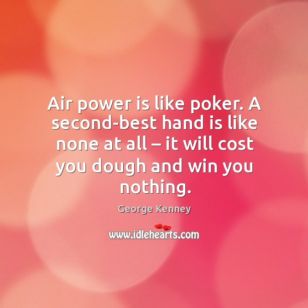 Image, Air power is like poker. A second-best hand is like none at all – it will cost you dough and win you nothing.