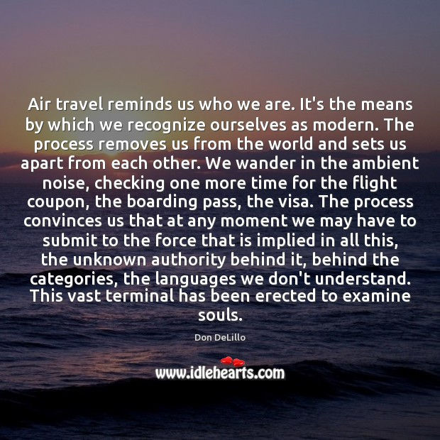 Air travel reminds us who we are. It's the means by which Don DeLillo Picture Quote