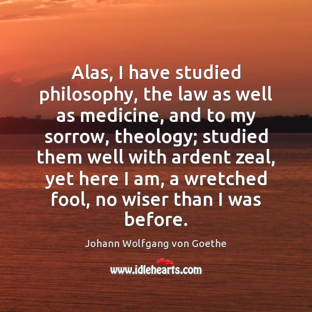 Alas, I have studied philosophy, the law as well as medicine, and Johann Wolfgang von Goethe Picture Quote