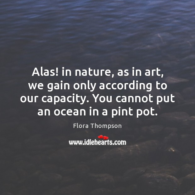 Image, Alas! in nature, as in art, we gain only according to our