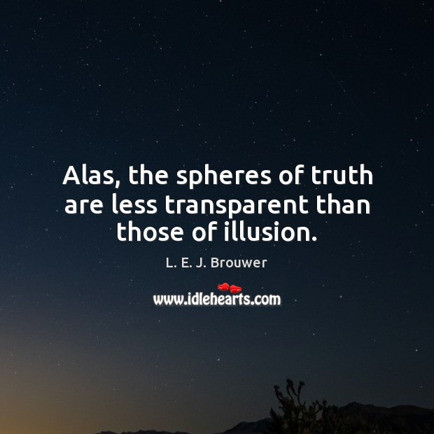 Alas, the spheres of truth are less transparent than those of illusion. Image