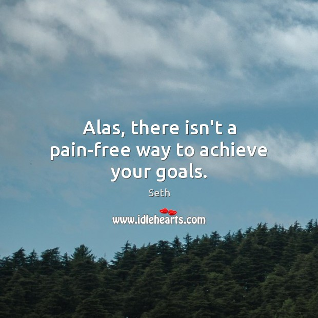 Alas, there isn't a pain-free way to achieve your goals. Seth Picture Quote