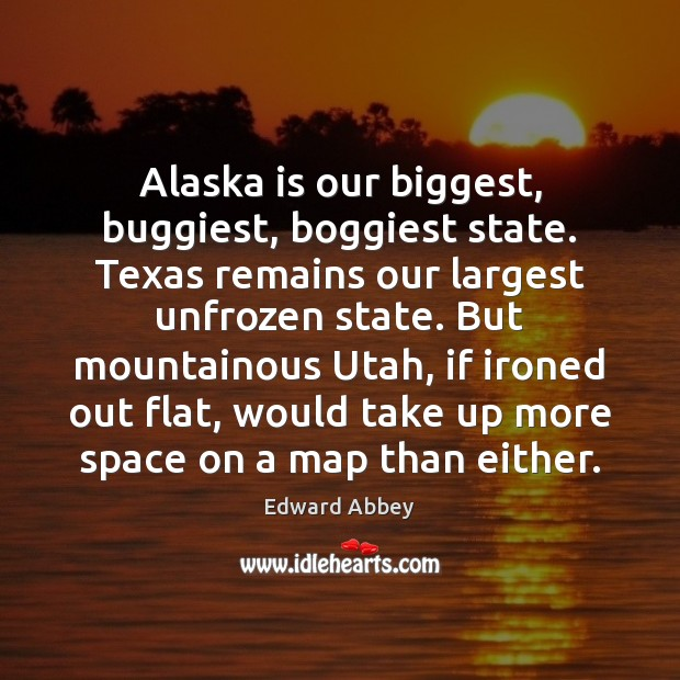 Alaska is our biggest, buggiest, boggiest state. Texas remains our largest unfrozen Image