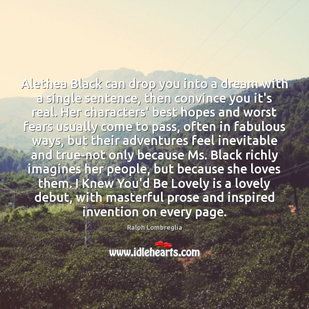 Alethea Black can drop you into a dream with a single sentence, Image