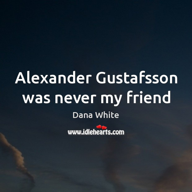Image, Alexander Gustafsson was never my friend