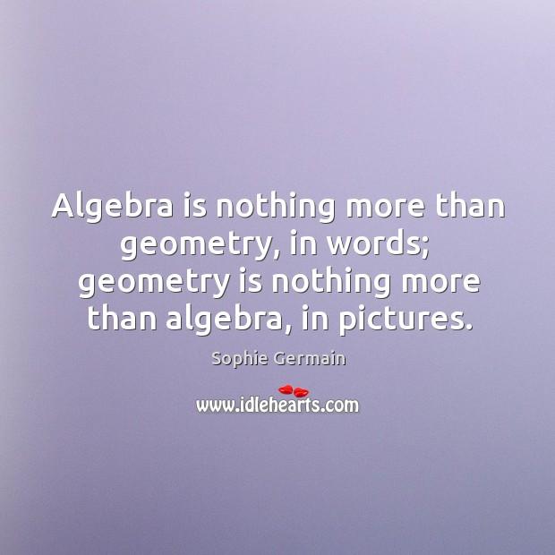 Algebra is nothing more than geometry, in words;  geometry is nothing more Image