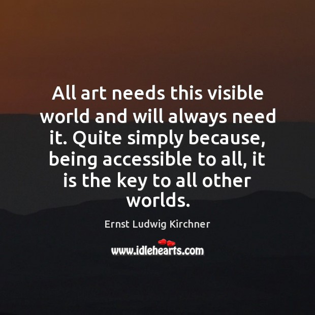 All art needs this visible world and will always need it. Quite Image