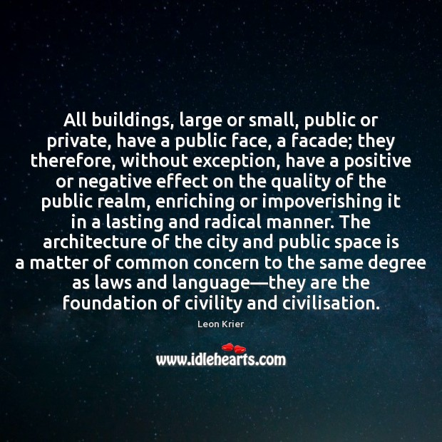 All buildings, large or small, public or private, have a public face, Space Quotes Image