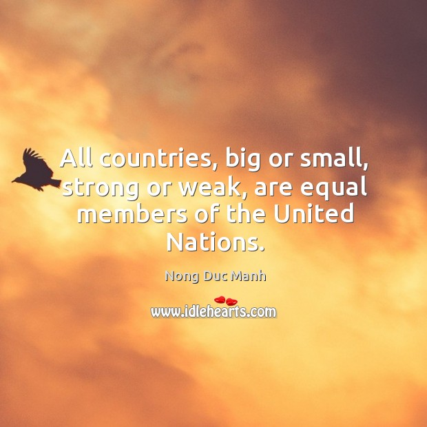 All countries, big or small, strong or weak, are equal members of the united nations. Image