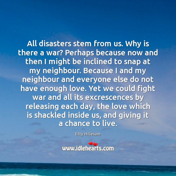 All disasters stem from us. Why is there a war? Perhaps because Etty Hillesum Picture Quote
