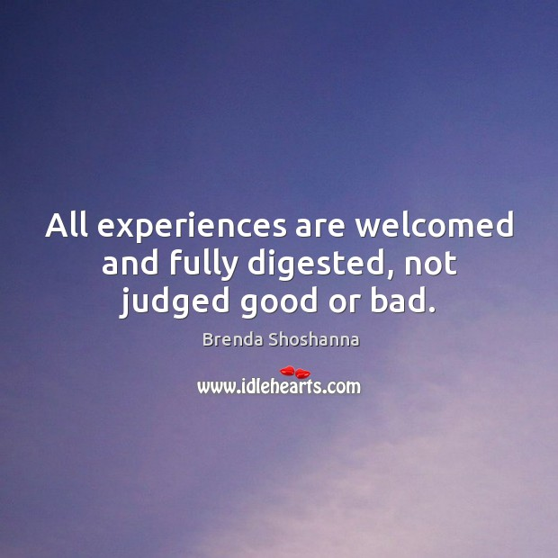 All experiences are welcomed and fully digested, not judged good or bad. Image