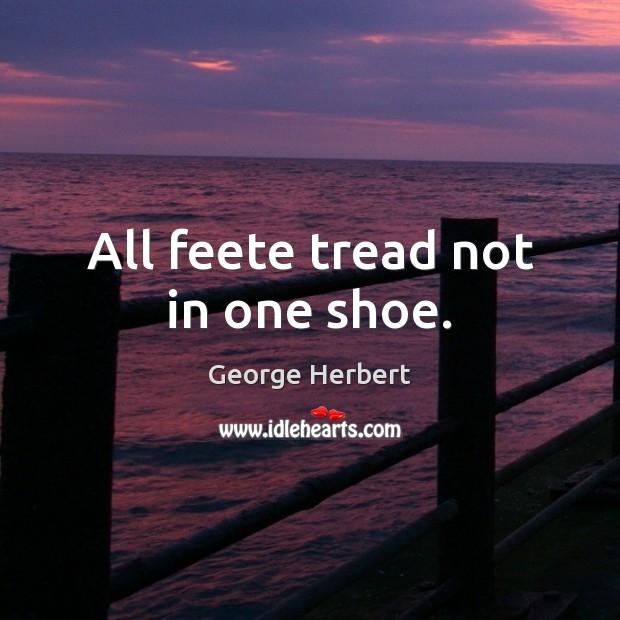 All feete tread not in one shoe. Image