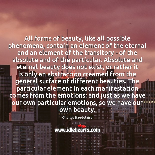 All forms of beauty, like all possible phenomena, contain an element of Image
