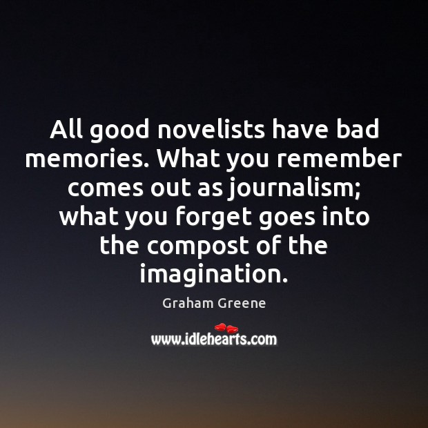 All good novelists have bad memories. What you remember comes out as Image