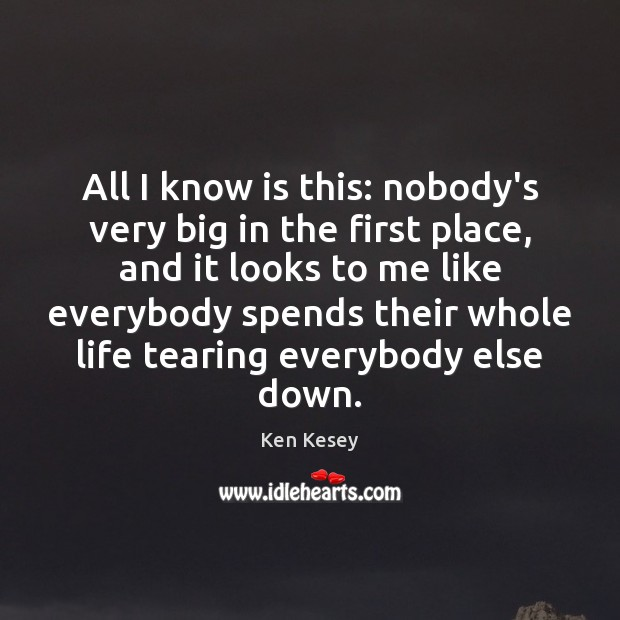All I know is this: nobody's very big in the first place, Ken Kesey Picture Quote