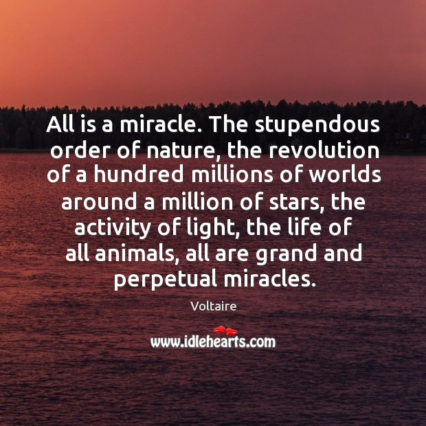 All is a miracle. The stupendous order of nature, the revolution of Image