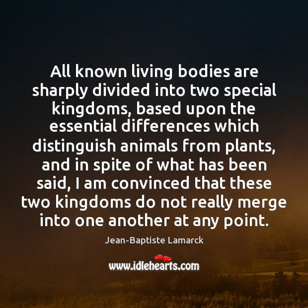 Image, All known living bodies are sharply divided into two special kingdoms, based