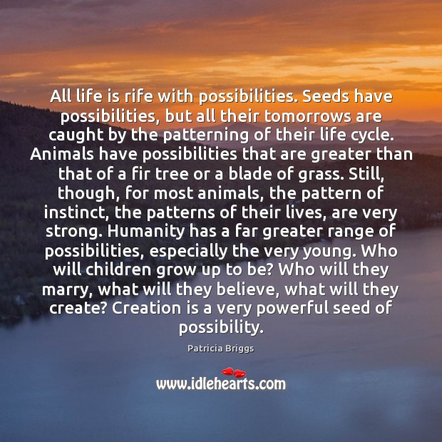 All life is rife with possibilities. Seeds have possibilities, but all their Patricia Briggs Picture Quote
