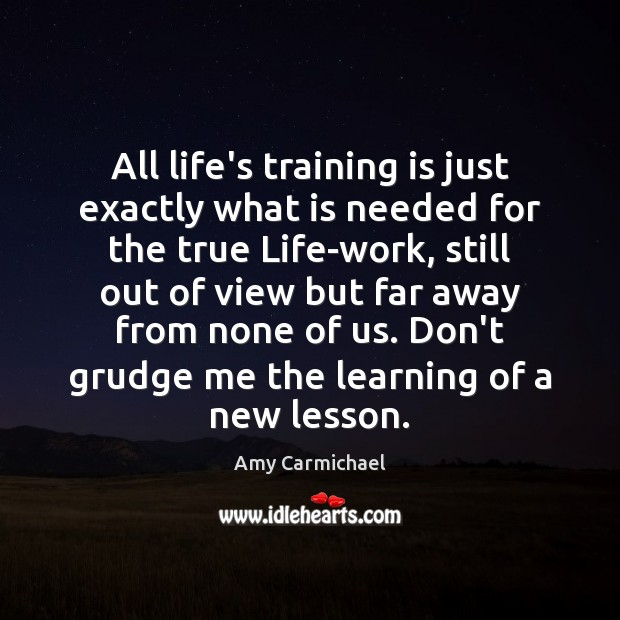 All life's training is just exactly what is needed for the true Grudge Quotes Image