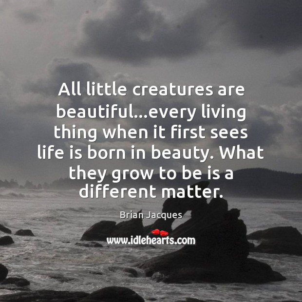 All little creatures are beautiful…every living thing when it first sees Brian Jacques Picture Quote