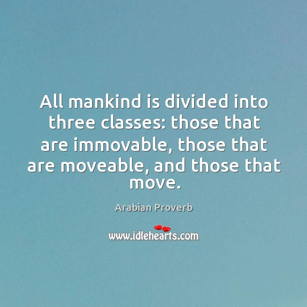 All mankind is divided into three classes: those that are immovable Arabian Proverbs Image
