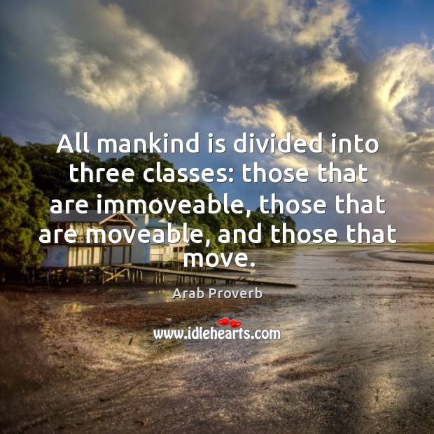 All mankind is divided into three classes. Arab Proverbs Image