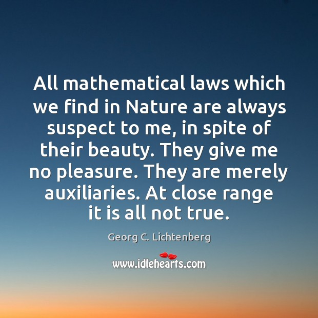 Image, All mathematical laws which we find in Nature are always suspect to