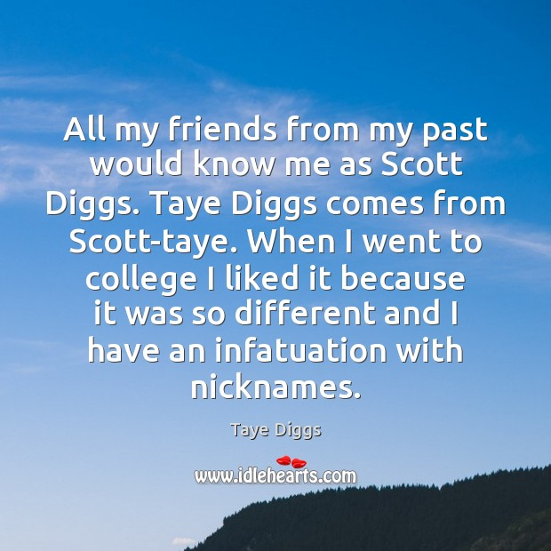 All my friends from my past would know me as Scott Diggs. Image