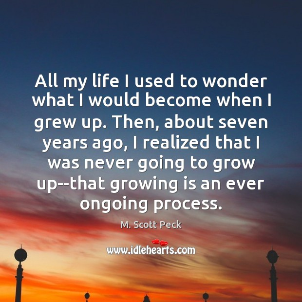 All my life I used to wonder what I would become when M. Scott Peck Picture Quote