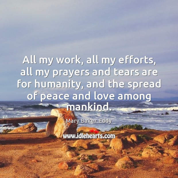 All my work, all my efforts, all my prayers and tears are Humanity Quotes Image