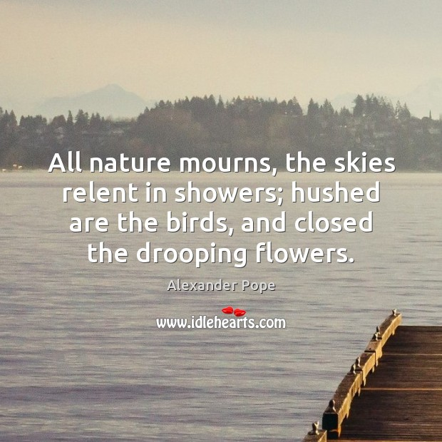 All nature mourns, the skies relent in showers; hushed are the birds, Alexander Pope Picture Quote