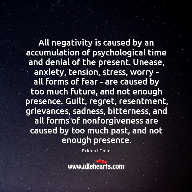 Image, All negativity is caused by an accumulation of psychological time and denial
