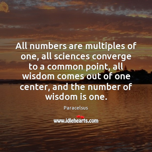 All numbers are multiples of one, all sciences converge to a common Paracelsus Picture Quote