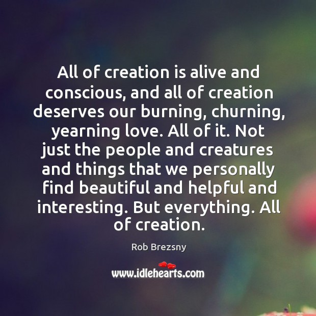 All of creation is alive and conscious, and all of creation deserves Image