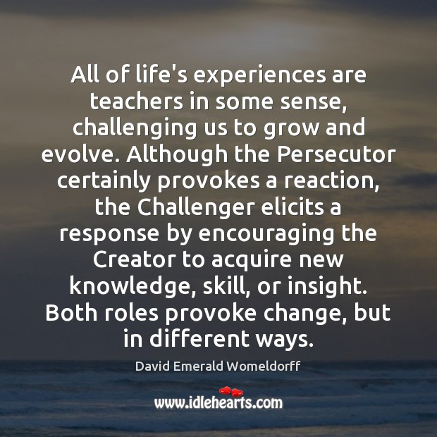 All of life's experiences are teachers in some sense, challenging us to David Emerald Womeldorff Picture Quote