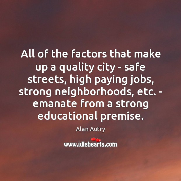 All of the factors that make up a quality city – safe Image