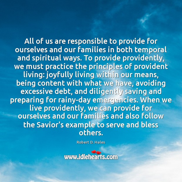 All of us are responsible to provide for ourselves and our families Image