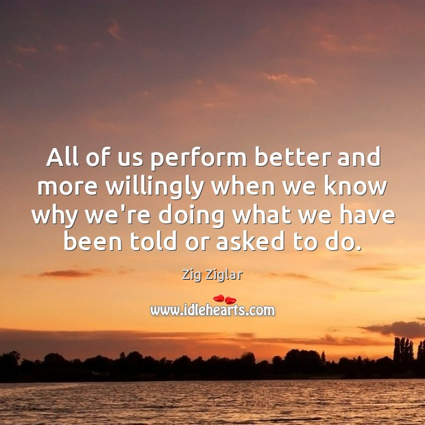 All of us perform better and more willingly when we know why Image