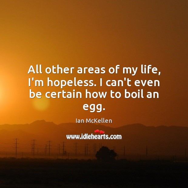 All other areas of my life, I'm hopeless. I can't even be certain how to boil an egg. Ian McKellen Picture Quote