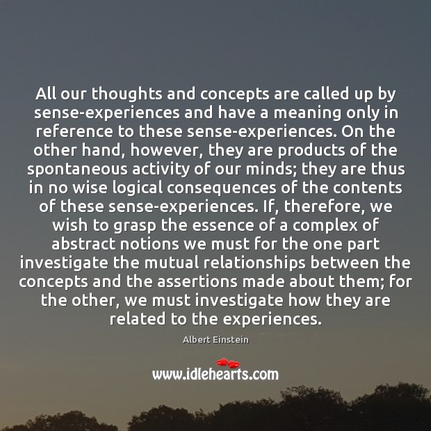 Image, All our thoughts and concepts are called up by sense-experiences and have