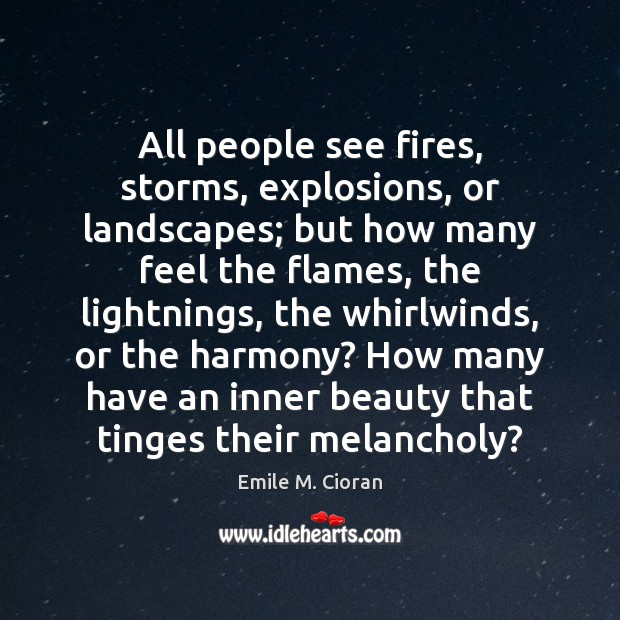 All people see fires, storms, explosions, or landscapes; but how many feel Emile M. Cioran Picture Quote
