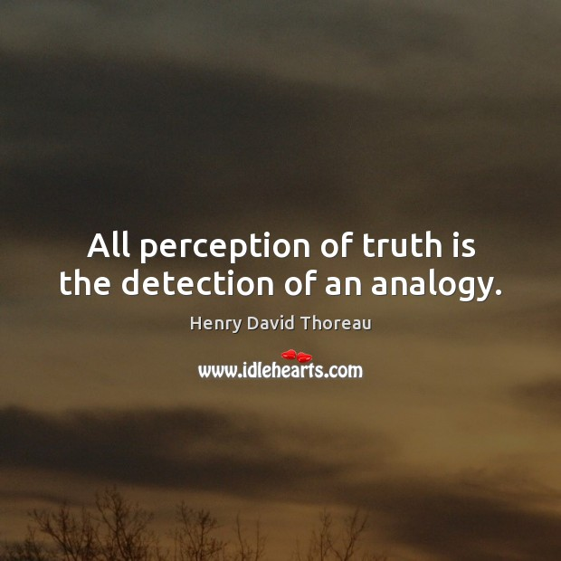 Image, All perception of truth is the detection of an analogy.